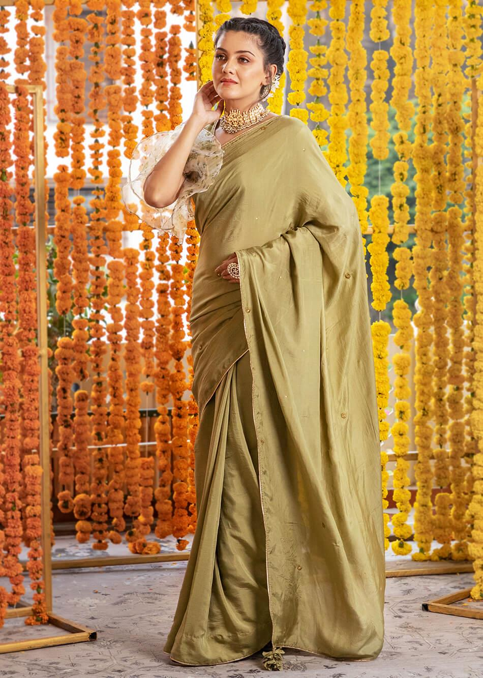 Silk Moss Green Saree  By Jovi Fashion