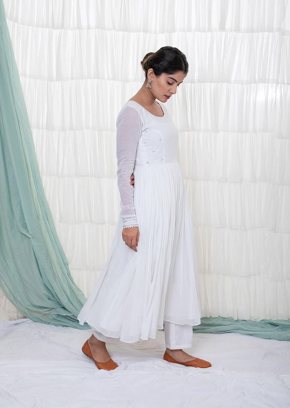 WHITE ANARKALI KURTA By Jovi Fashion