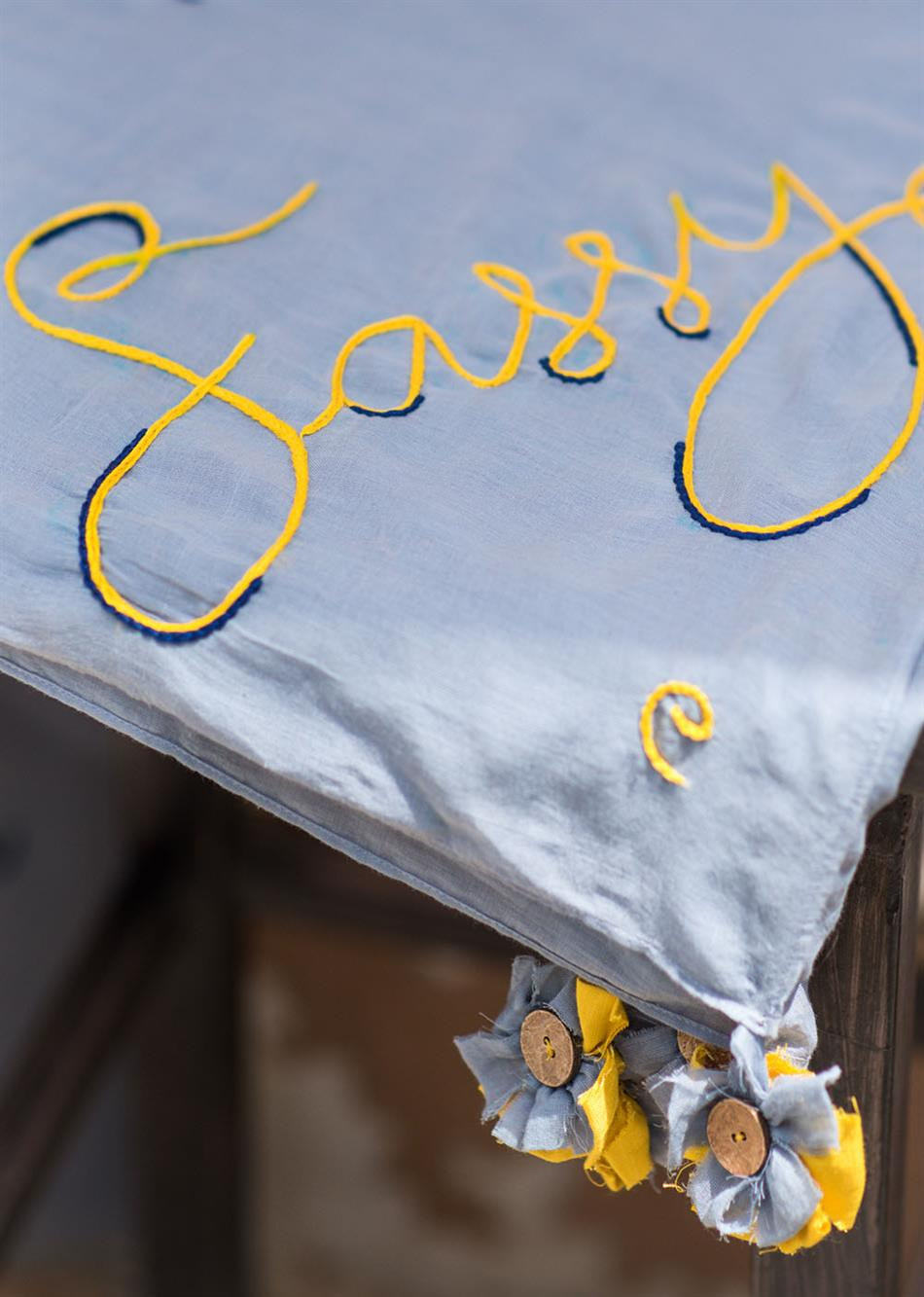 """""""Sassy"""" hand Embroidered Scarf- Shale Grey  By Jovi Fashion"""
