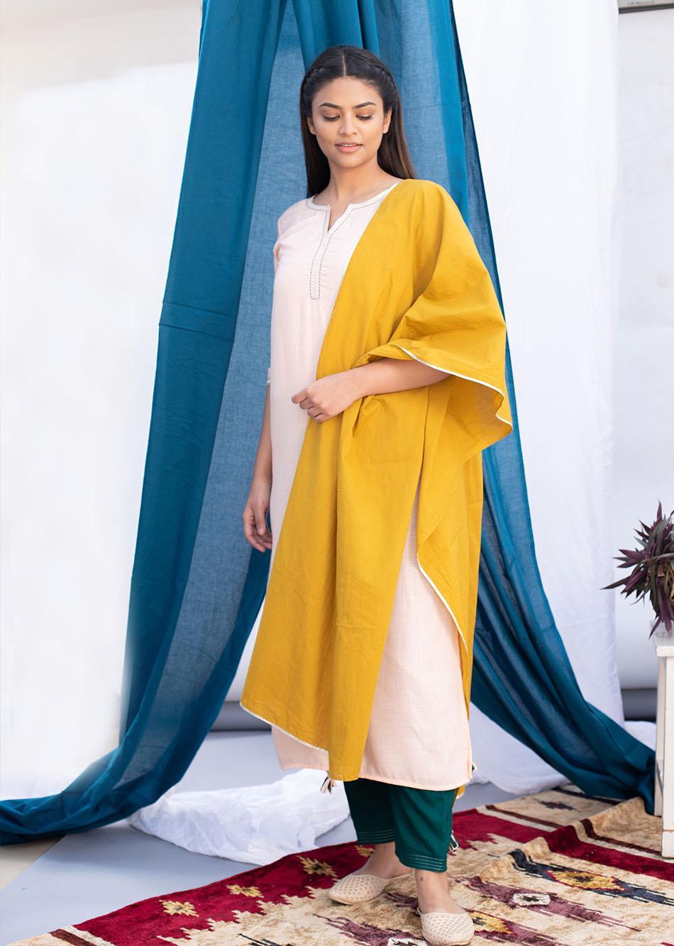 Mustard seeds Dupatta By Jovi Fashion