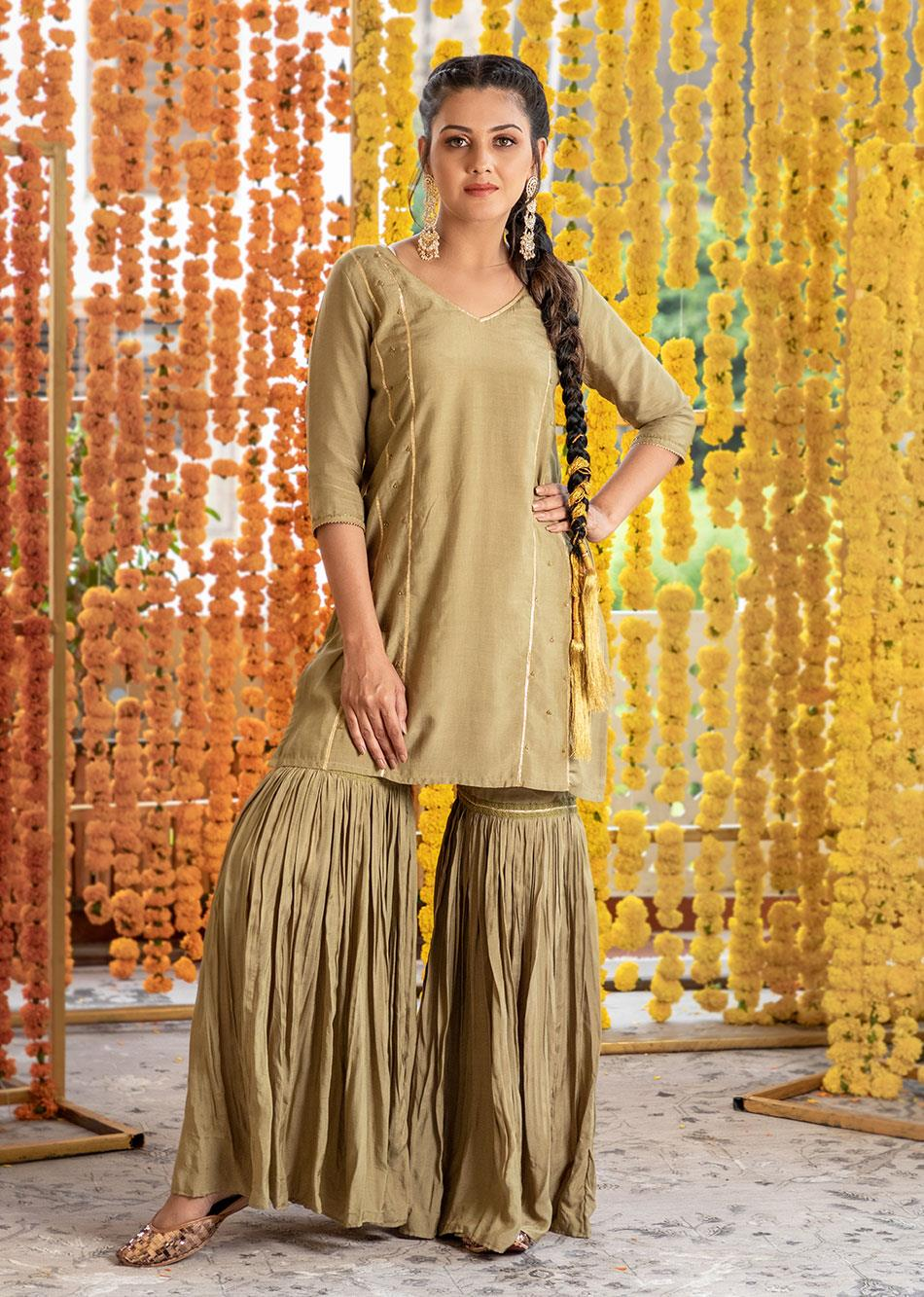 Silk Short Kurta and Garara Pants (set of 3) By Jovi Fashion