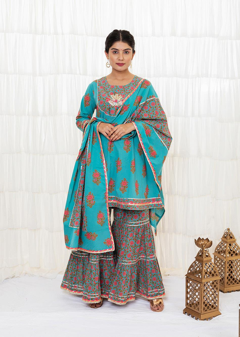 Light Sea Green Sharara Set By Jovi Fashion