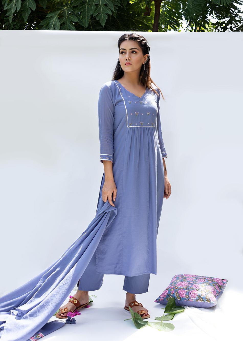 Baiguni straight kurta and pant set(set of 3) By Jovi Fashion