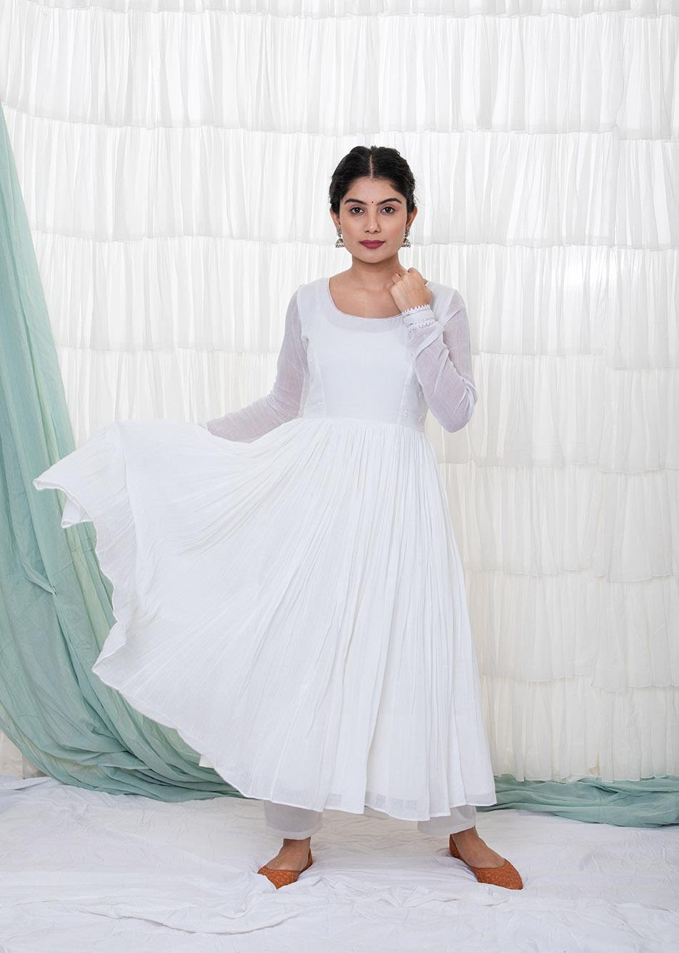White Anarkali Set By Jovi Fashion