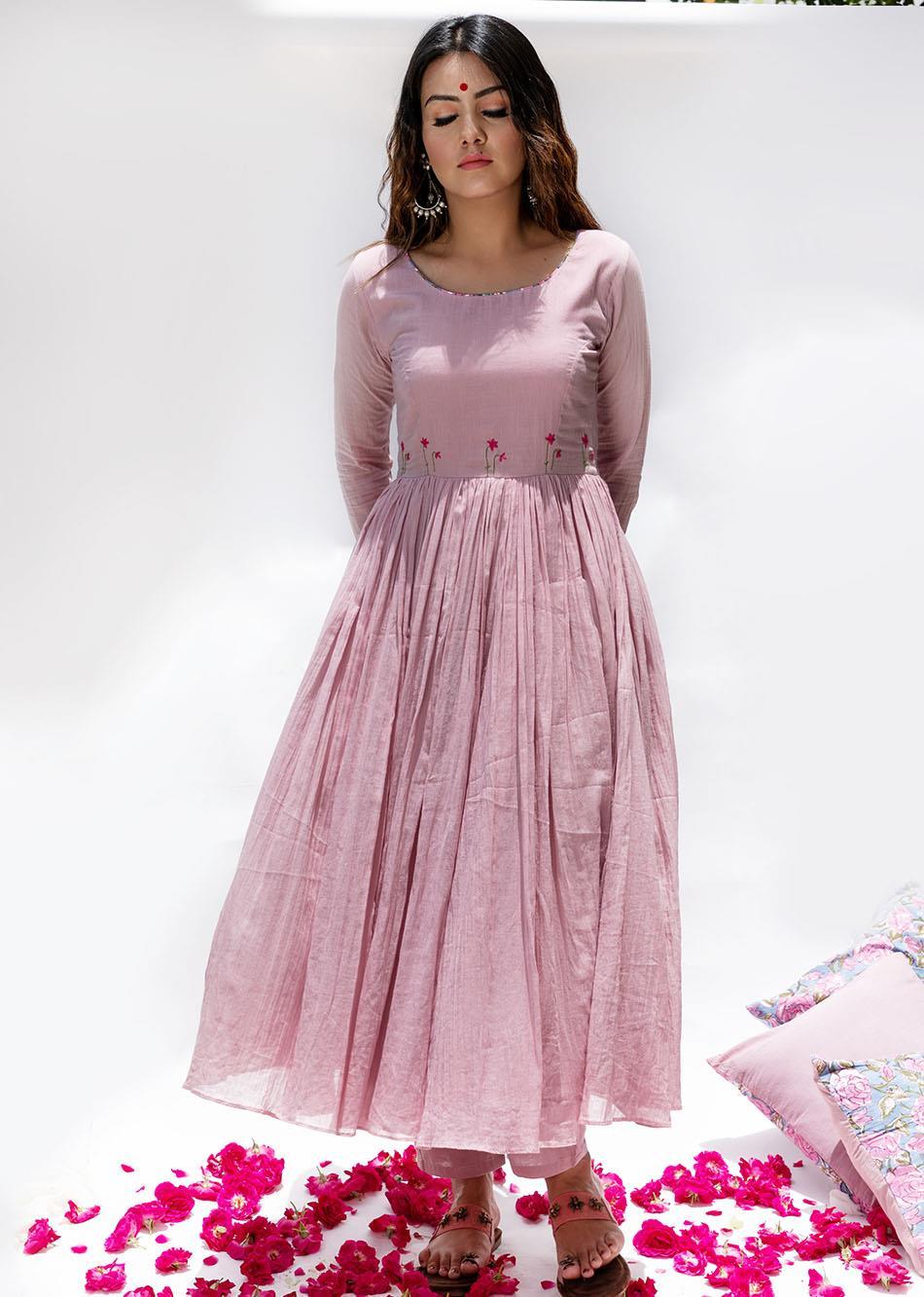 Gulabi Anarkali Kurta  By Jovi Fashion