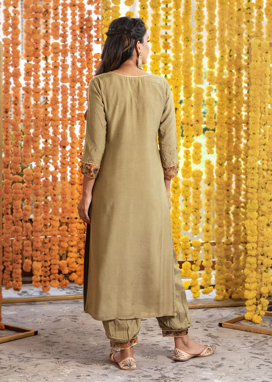 Silk Straight Kurta & Afghani Pants (set of 3) By Jovi Fashion