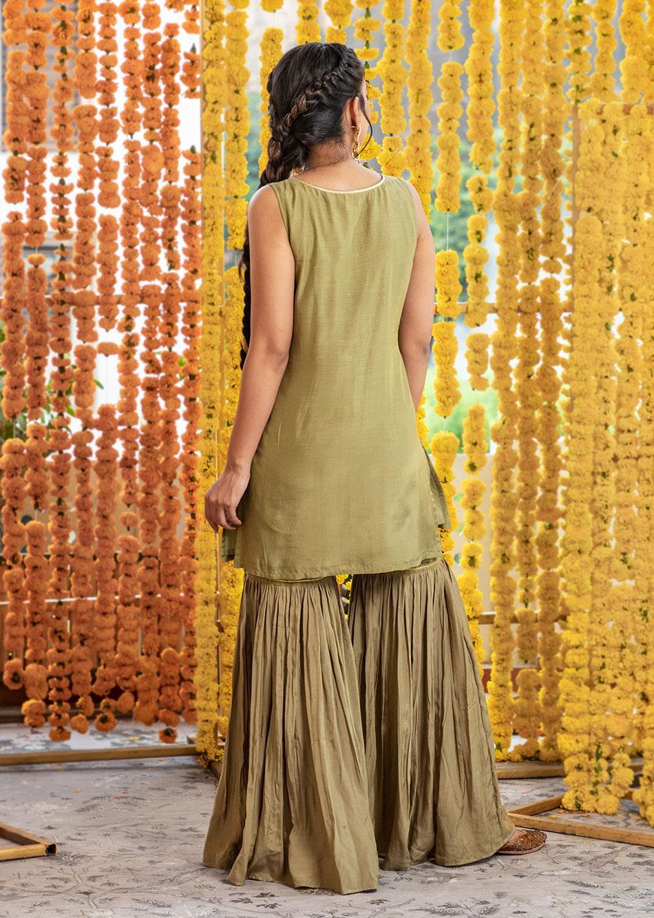 Silk sleeveless kurta and garara pants (set of 3) By Jovi Fashion
