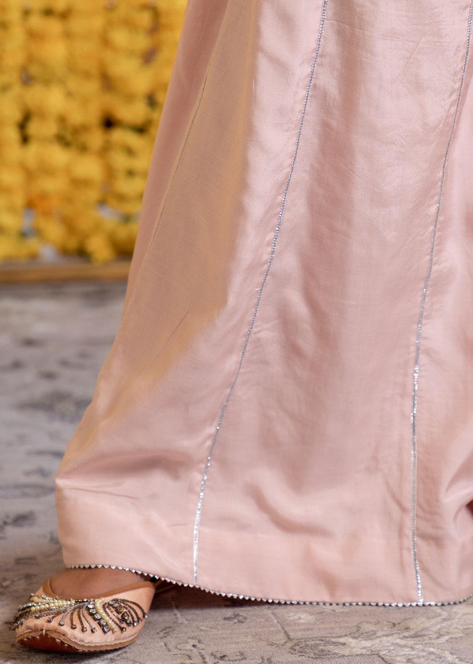 Silk Short Kurta And Palazzo Set (Set Of 3) By Jovi Fashion