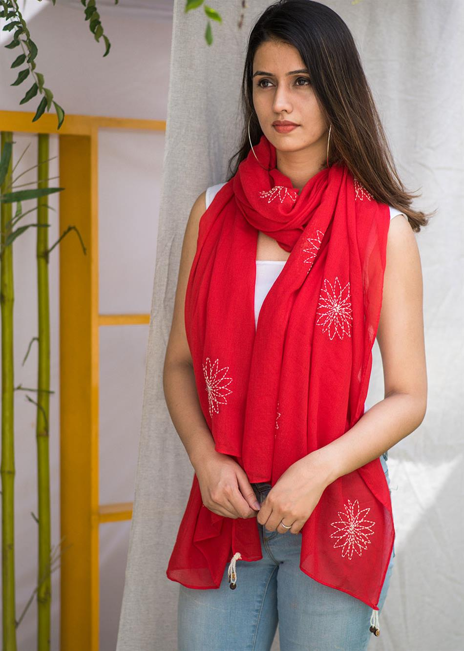 Balletic mood - Red (Hand embroidered scarf) By Jovi Fashion