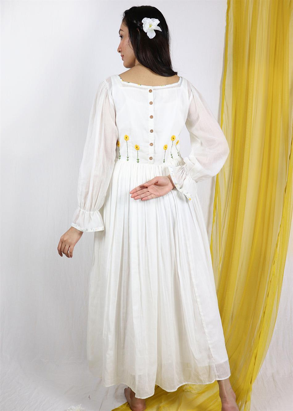 All-White Basantah Midi Dress By Jovi Fashion
