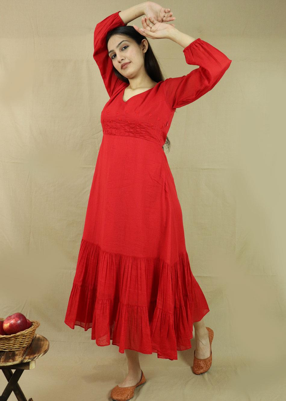 Red Midi Dress By Jovi Fashion