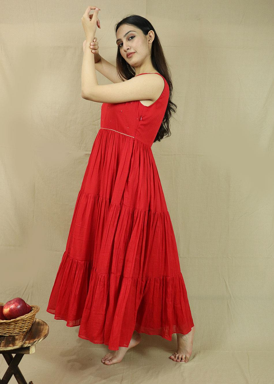 Red Tiered Dress  By Jovi Fashion