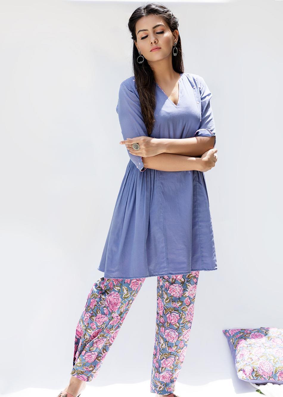 Baiguni Short kurti and Pants (Set of 2) By Jovi Fashion