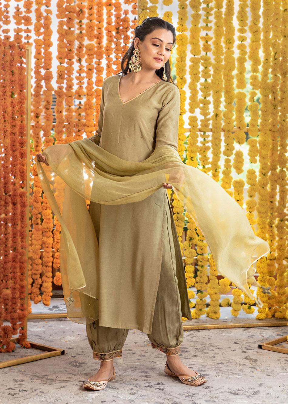 Silk straight kurta & afgani pants (set of 3) By Jovi Fashion