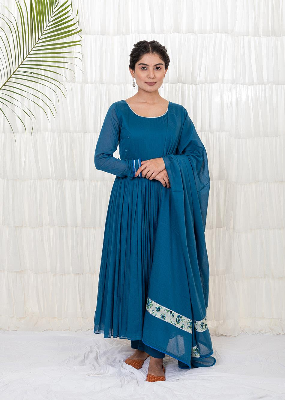 Teal Blue Anarkali Set By Jovi Fashion