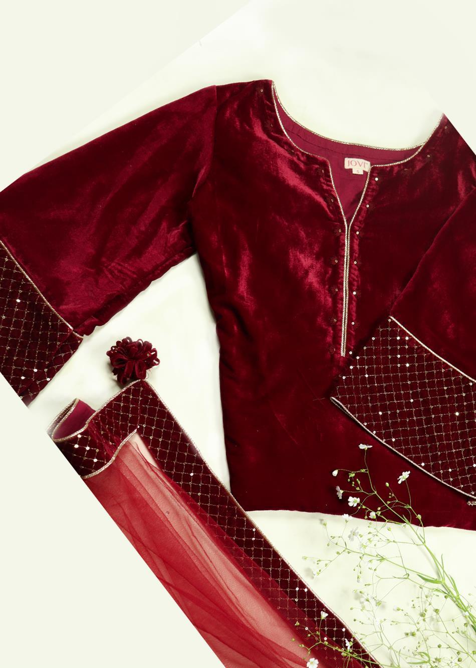 Surkh Laal short kurta Suit Set (set of 3) By Jovi Fashion