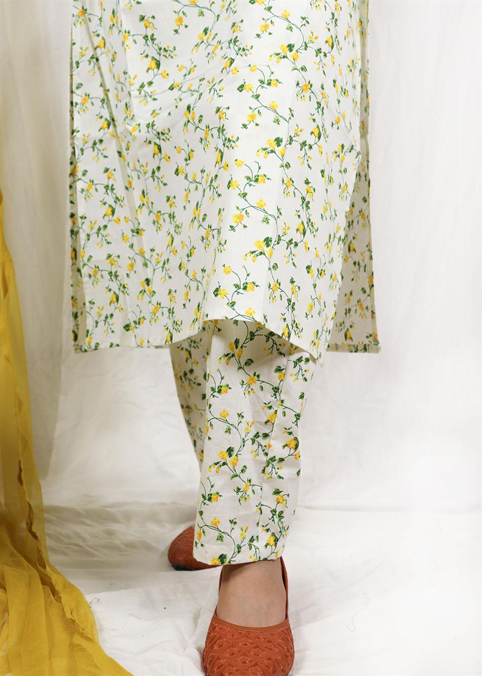 Basantah Short Kurta and Shalwar Set (Set of 3) By Jovi Fashion