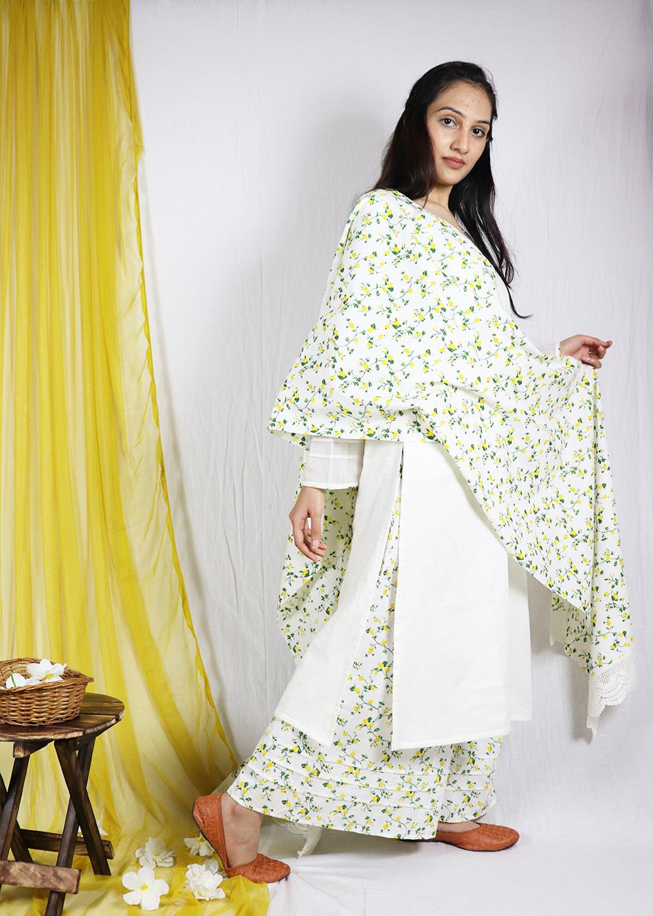 Basantah Loose Kurta and Palazzo set (set of 3) By Jovi Fashion