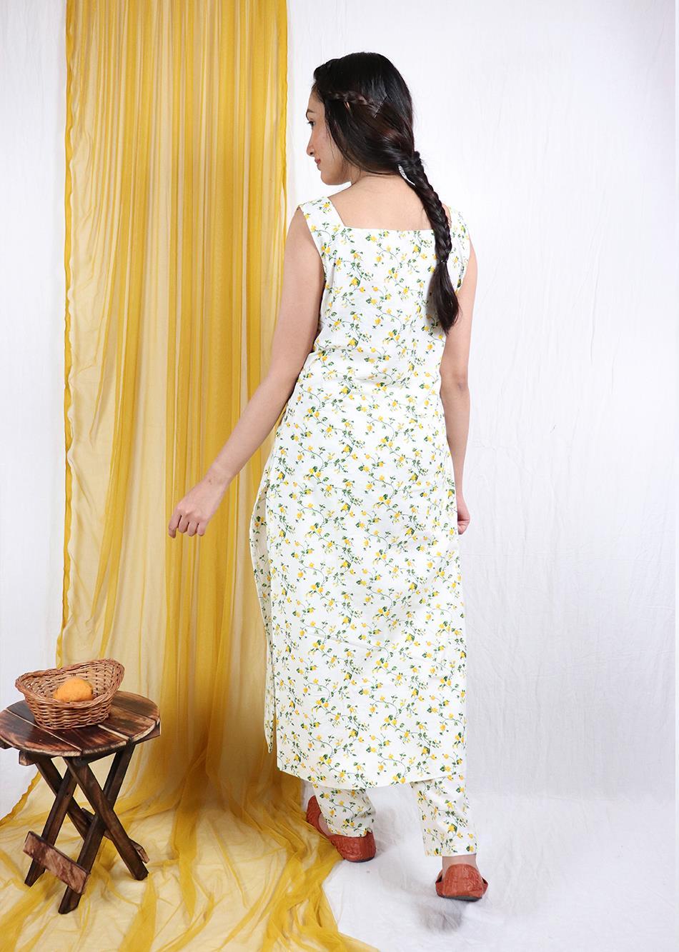 Basantah Sleeveless Kurti and Pants Set (Set of 2) By Jovi Fashion