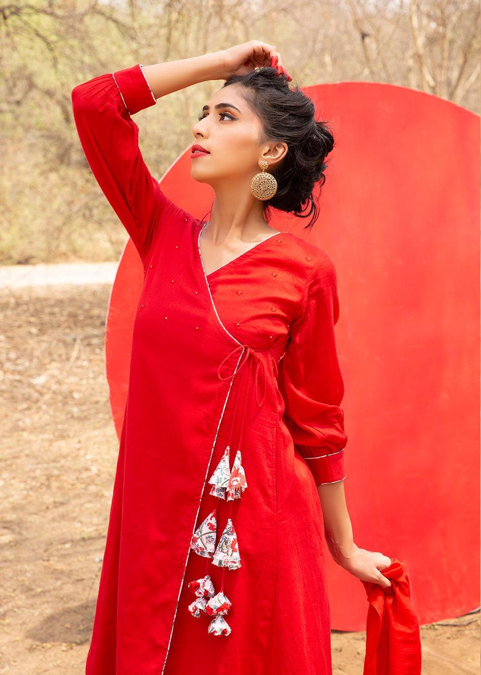 Red Angrakha Kurta and Pants Set (Set of 3) By Jovi Fashion
