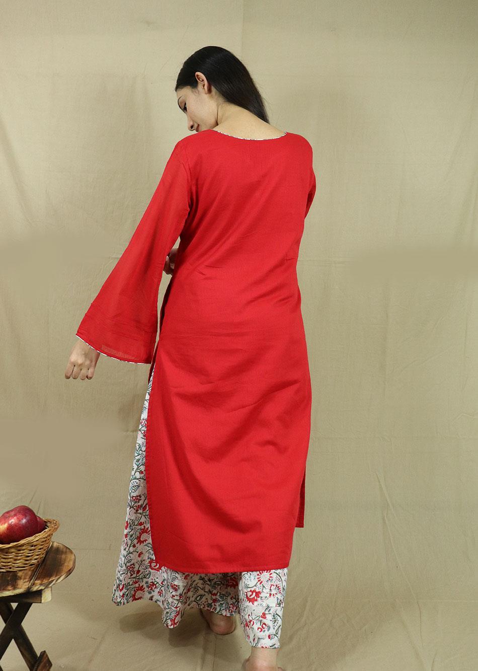 Red Loose Kurta and Palazzo Set( With printed dupatta) By Jovi Fashion