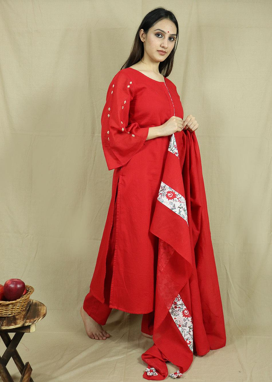 Red Straight Kurta Set  (Set of 3) By Jovi Fashion