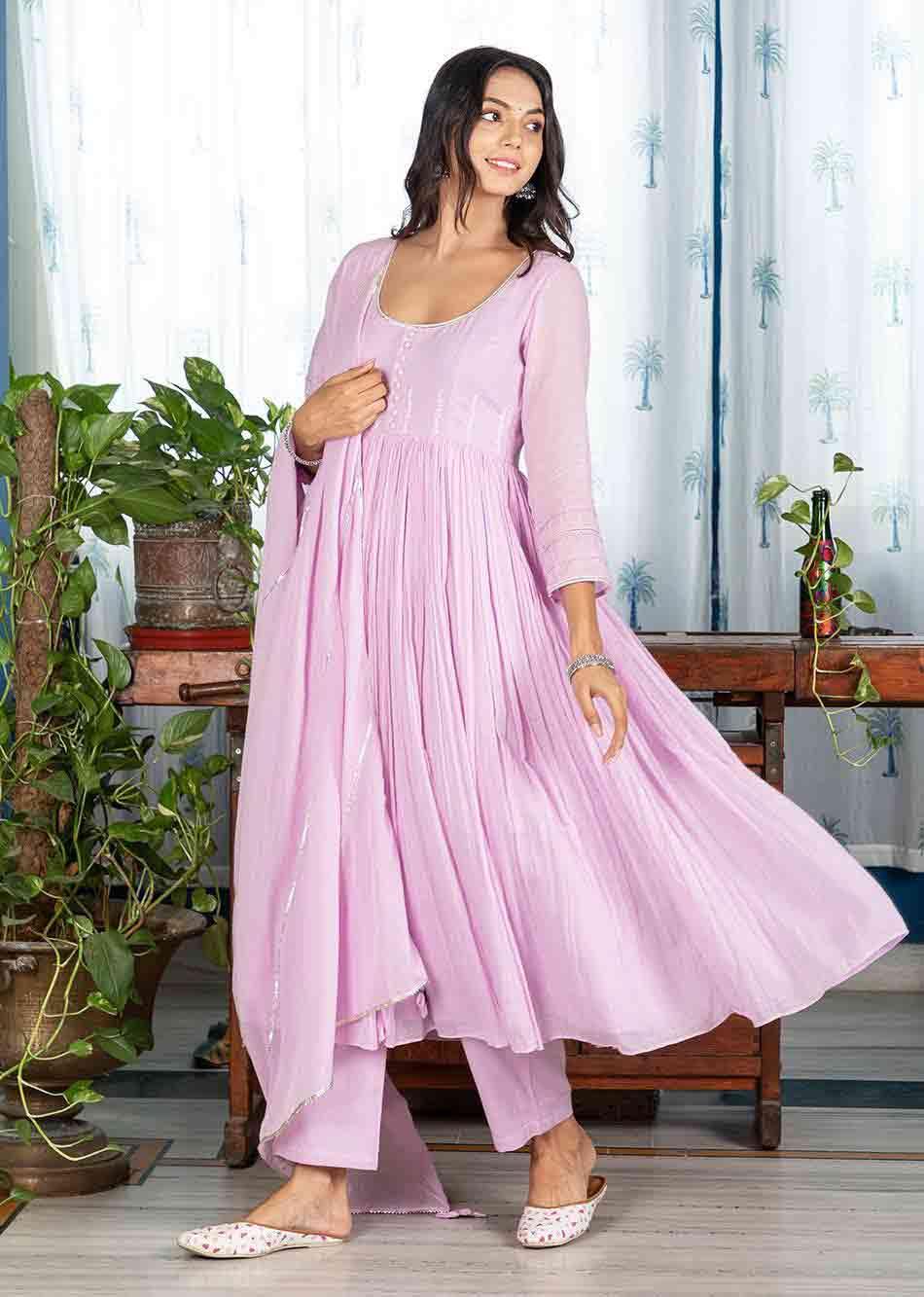 MOH Lilac Gathered Anarkali Set (set of 3) By Jovi Fashion