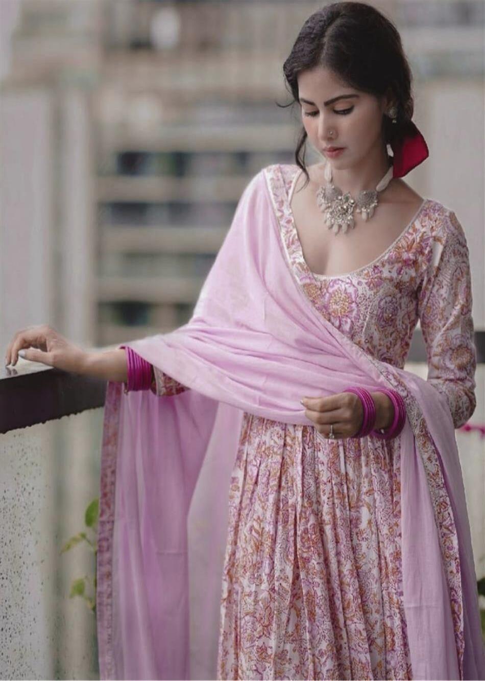 MOH Lilac Printed Anarkali Set (set of 3) By Jovi Fashion