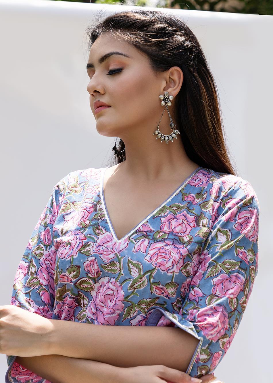 Gulabi Printed Kurta By Jovi Fashion