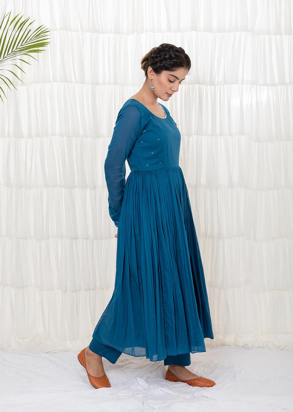 TEAL BLUE ANARKALI KURTA By Jovi Fashion