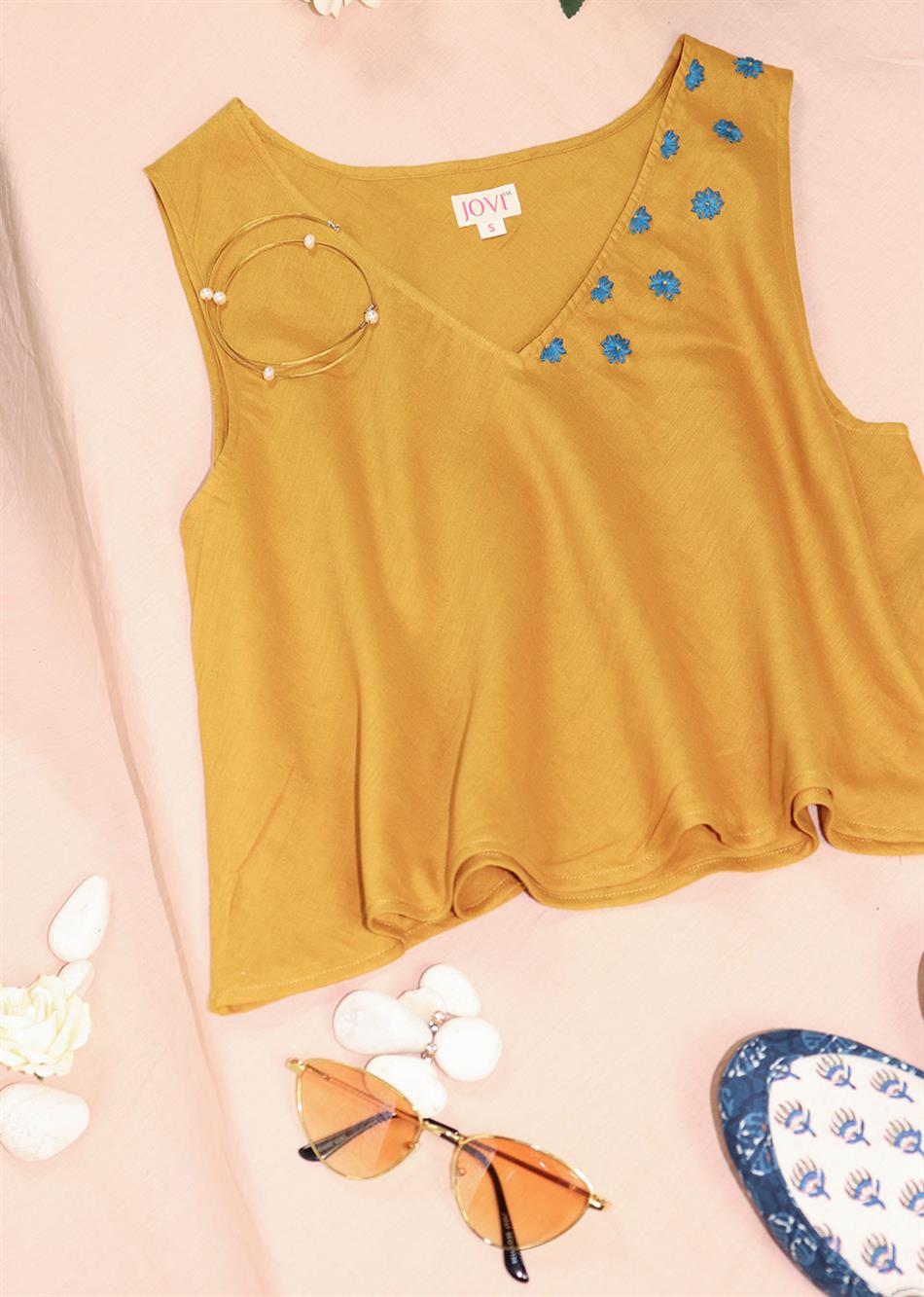 SUMMER V NECK EMBROIDERD TOPS (COLORS AVAILABLE) By Jovi Fashion