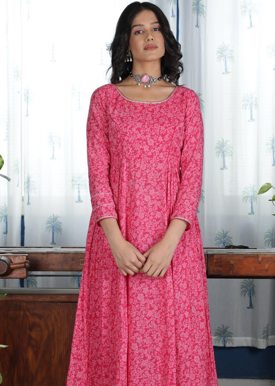MOH Pink Side Gather's Anarkali (only kurta) By Jovi Fashion