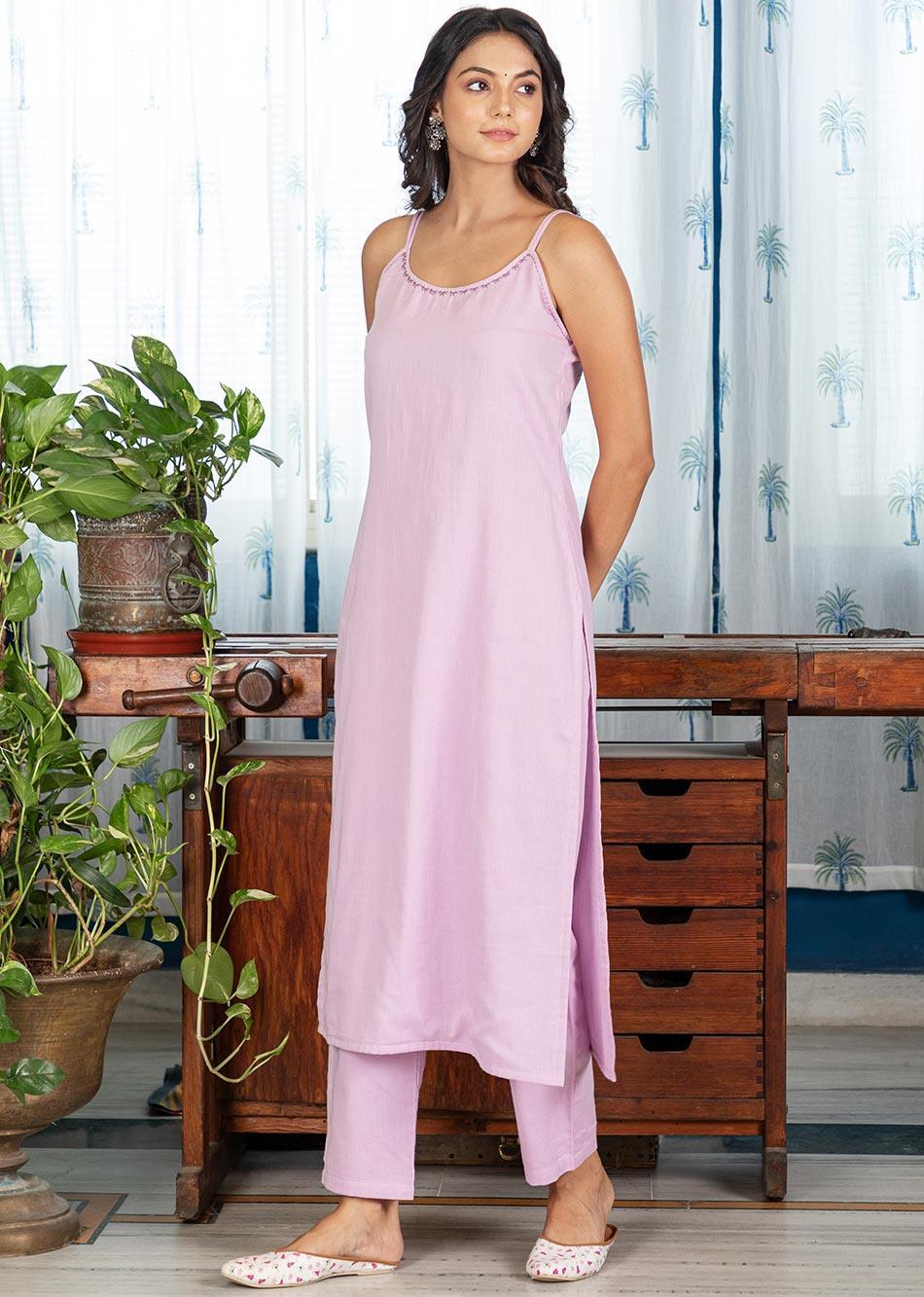 MOH Lilac Strappy Kurta (only kurta) By Jovi Fashion