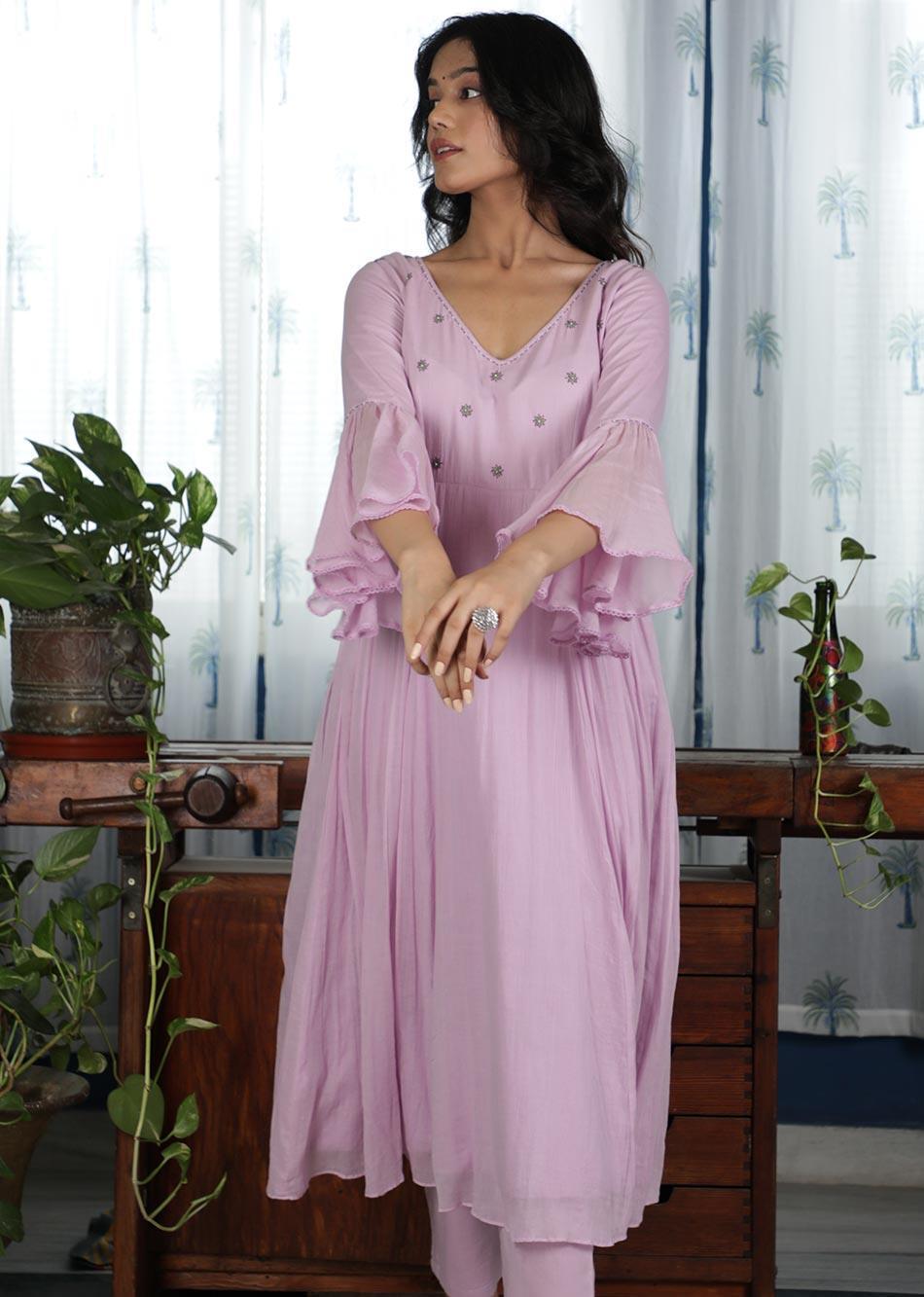 MOH Lilac Anarkali (only kurta) By Jovi Fashion