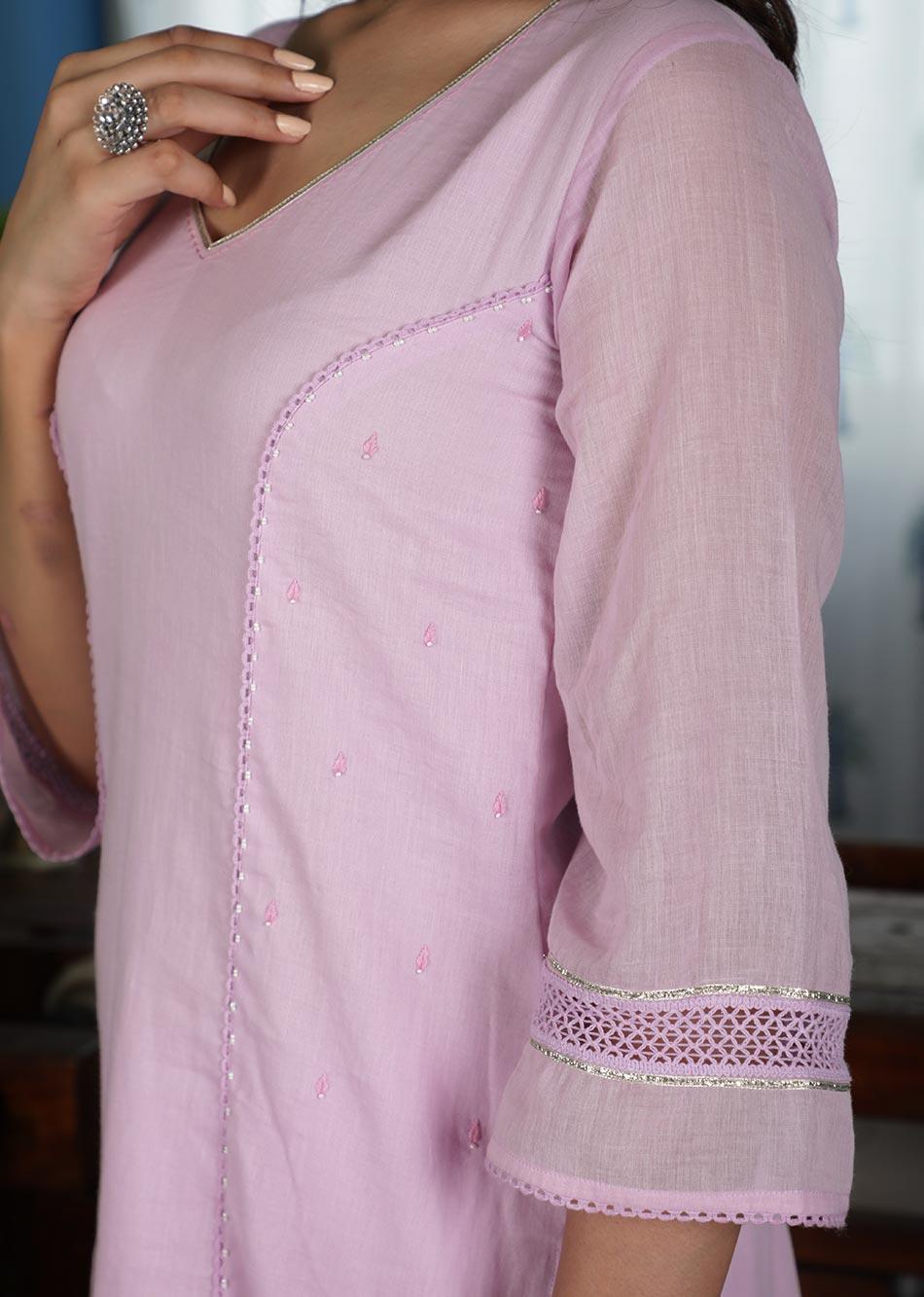 MOH Lilac Lacey Kurta (only kurta) By Jovi Fashion