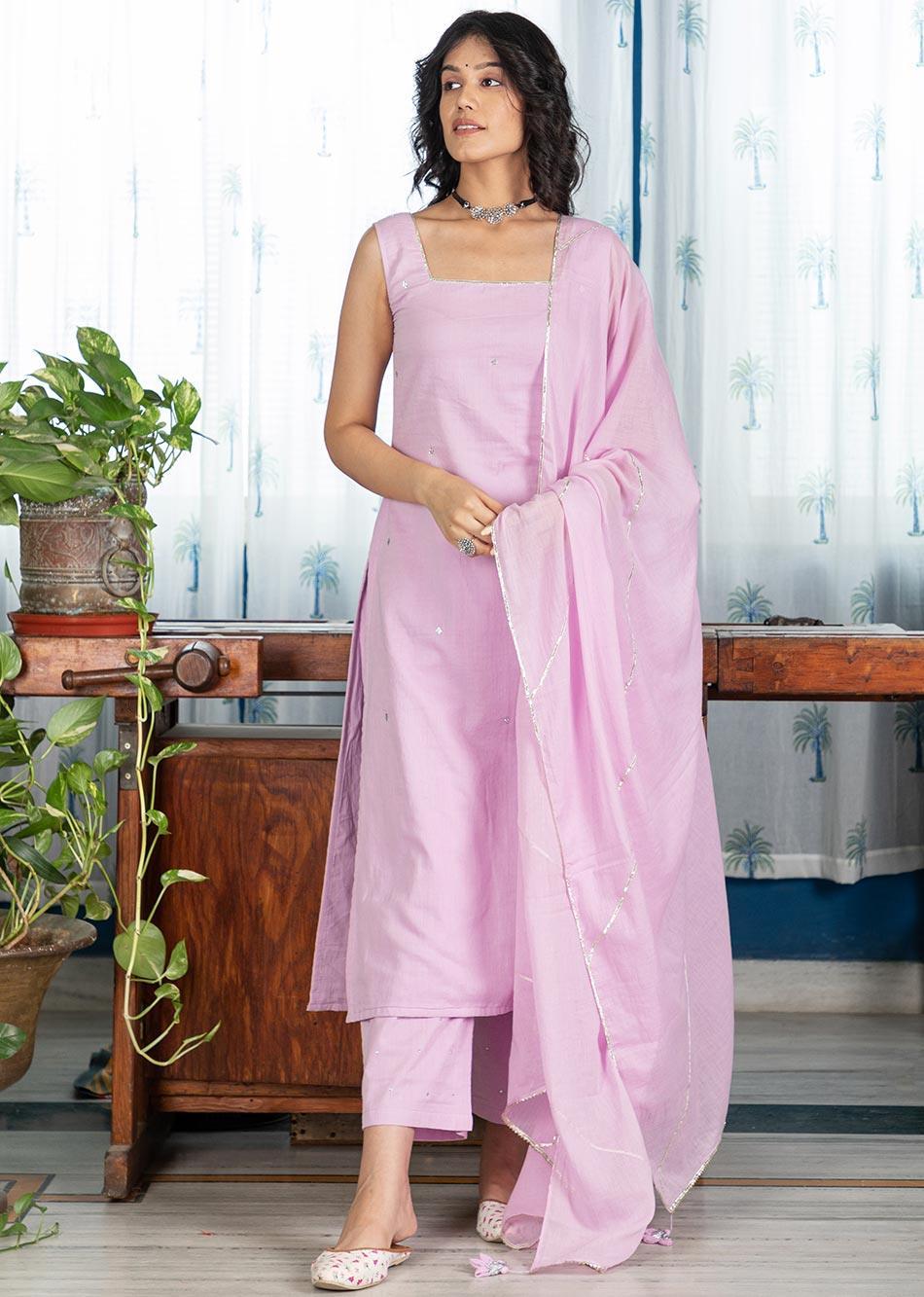 MOH Lilac Sleeveless Kurta (only kurta) By Jovi Fashion