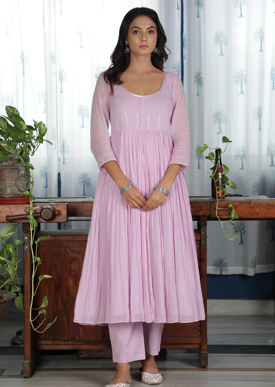 MOH Lilac Gathered Anarkali (only kurta) By Jovi Fashion