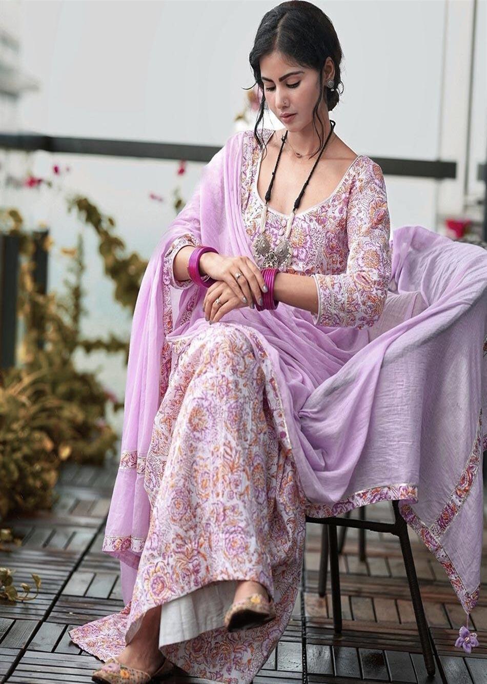 MOH Lilac Printed Anarkali (only kurta) By Jovi Fashion