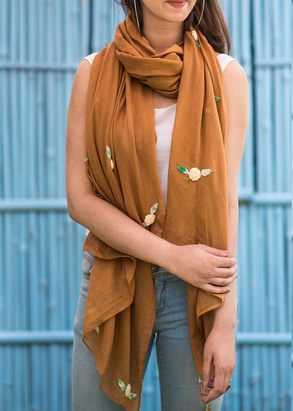 Balletic mood - Brown (Hand embroidered scarf)