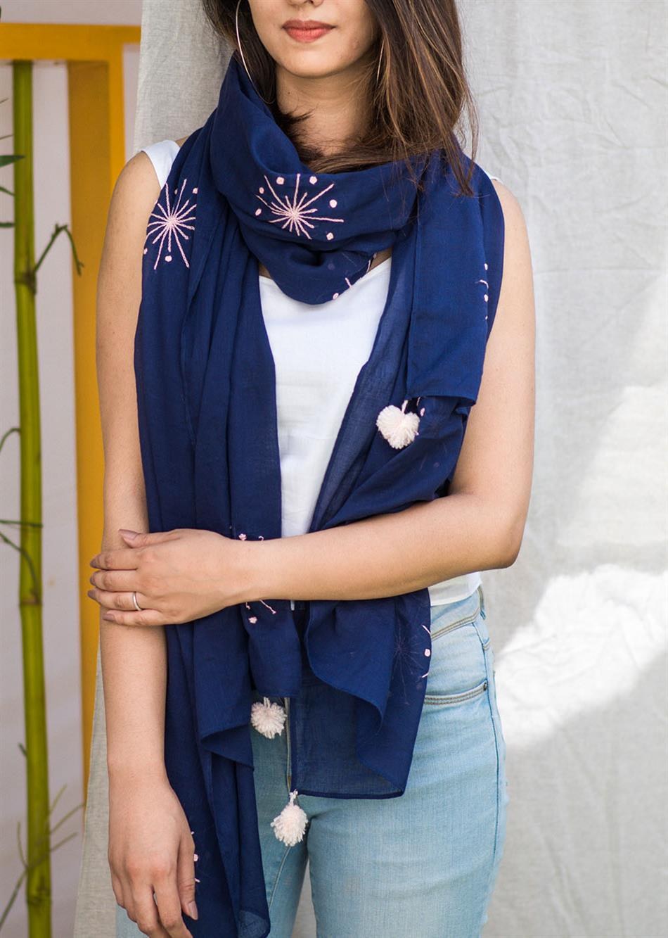 Balletic mood - Navy blue (Hand embroidered scarf) By Jovi Fashion