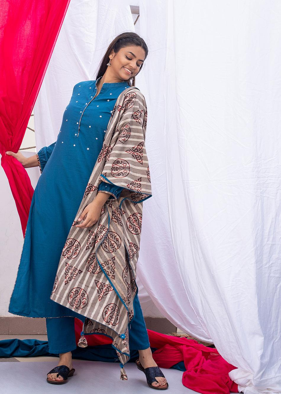 Block printed Dupatta By Jovi Fashion