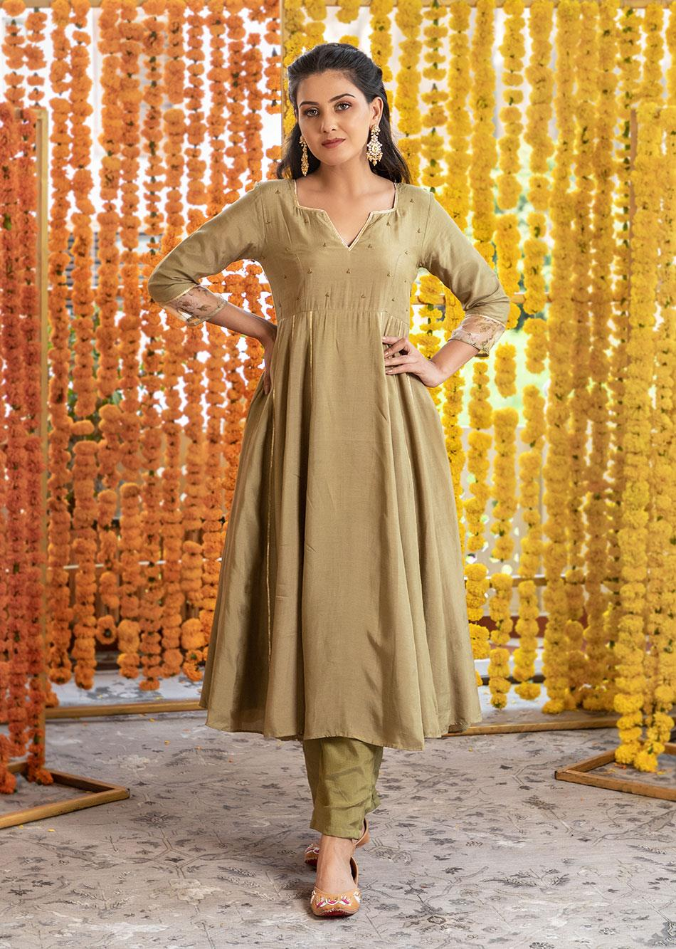 Silk Anarkali Kurta and Pants (Set of 3)