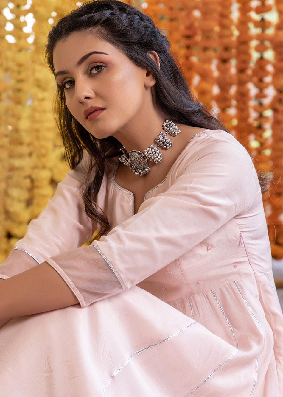 Silk Anarkali Kurta and Pants(set of 3) By Jovi Fashion