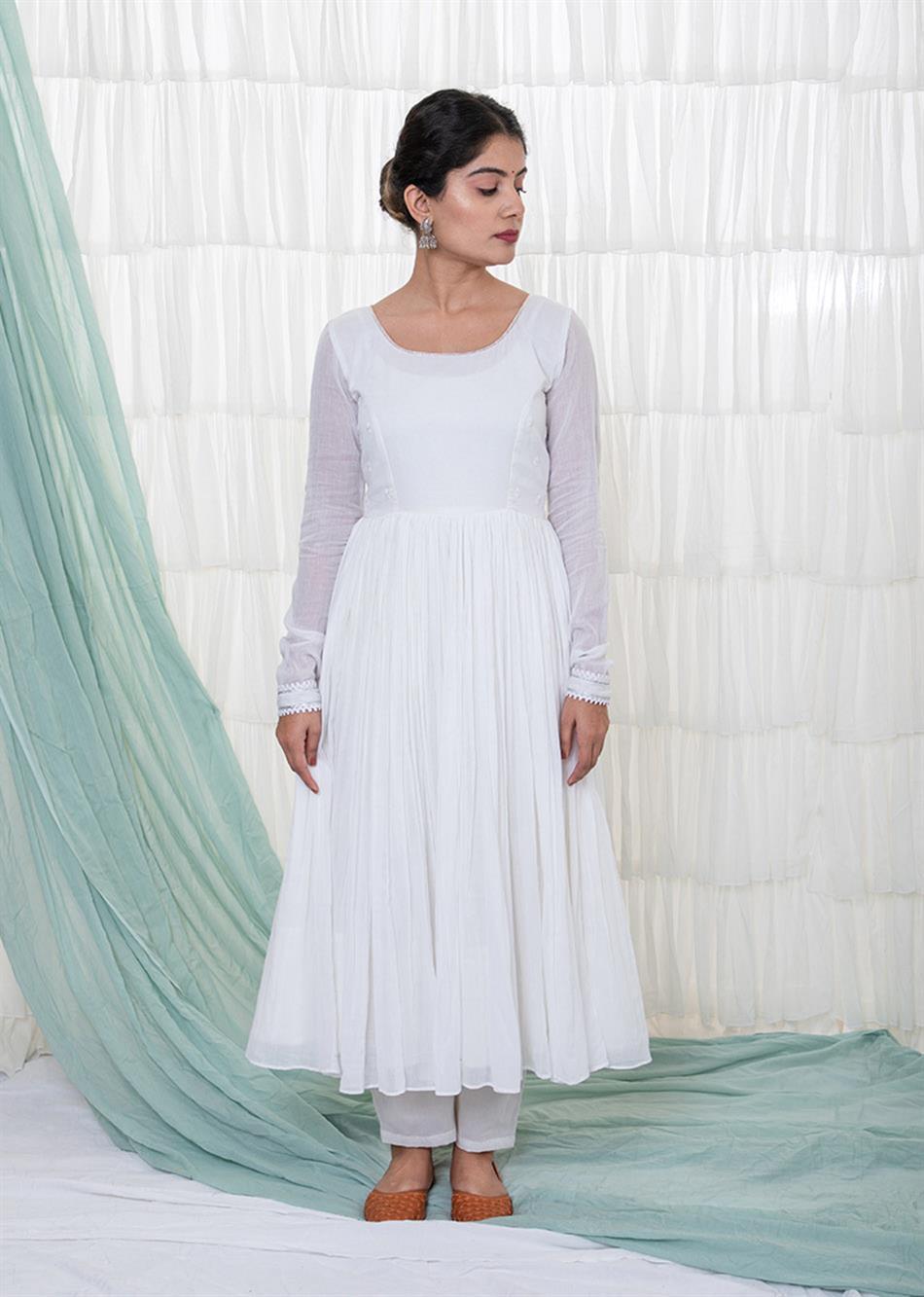White Anarkali Set