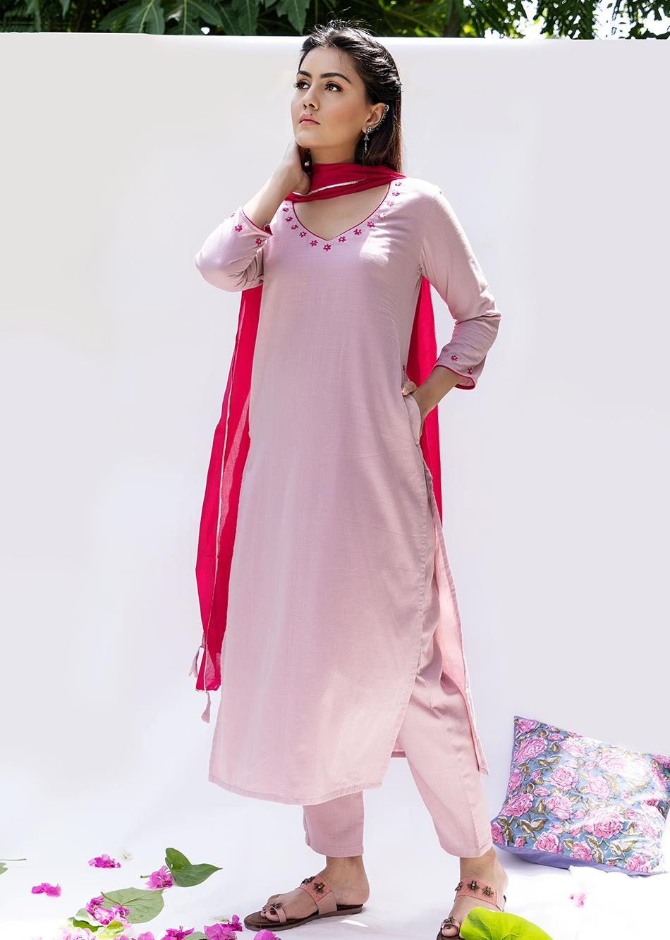 Gulabi Straight kurta and pants (set of 3) By Jovi Fashion