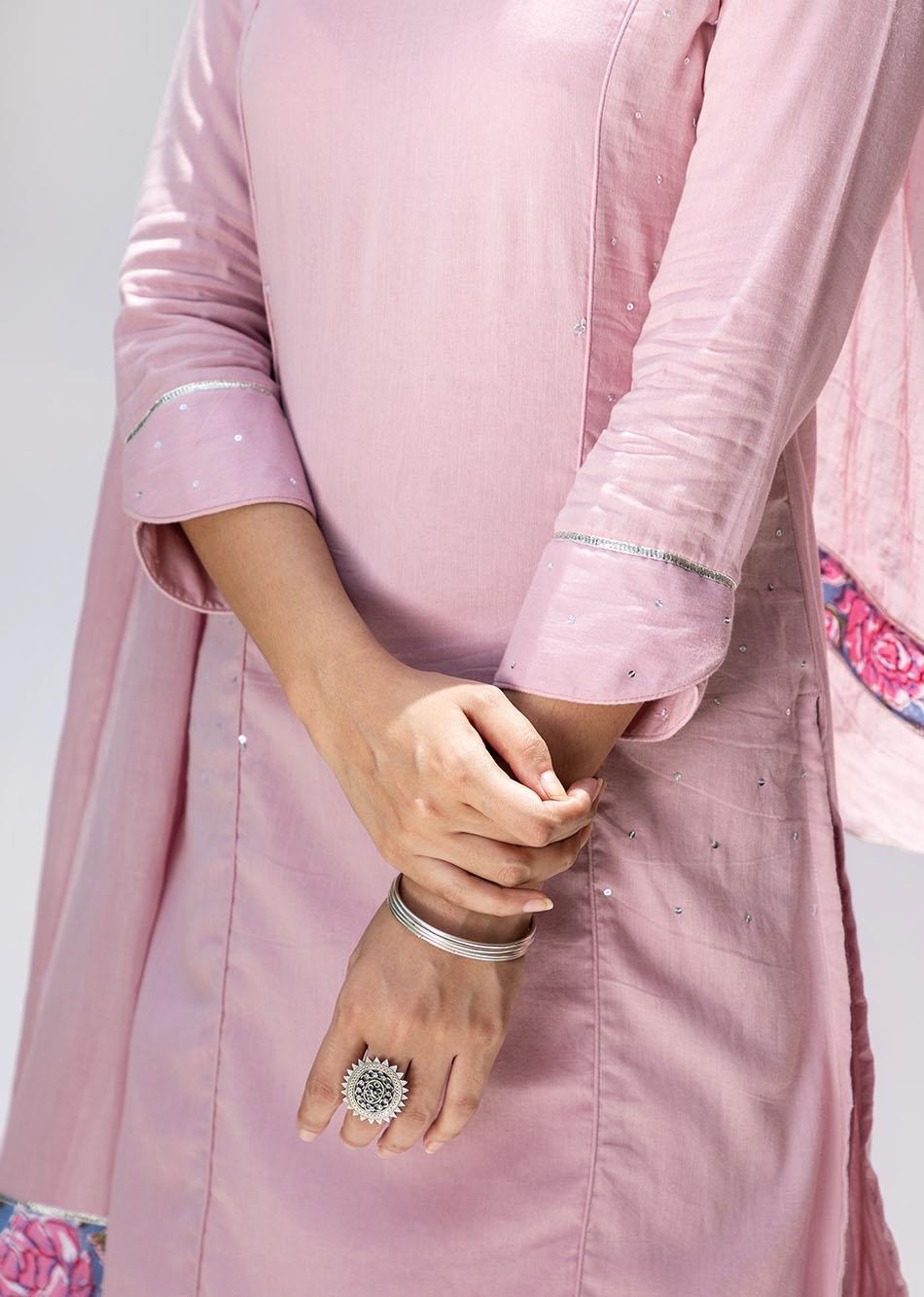 Gulabi straight sequence kurta and pant set (set of 3) By Jovi Fashion