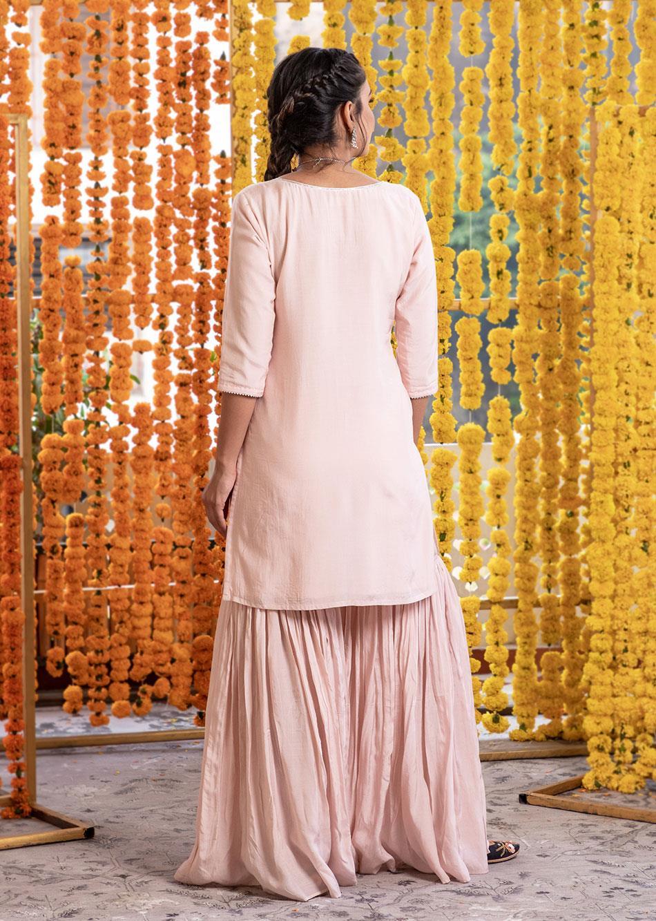 Silk Short Kurta And Garara Pants (Set Of 3) By Jovi Fashion