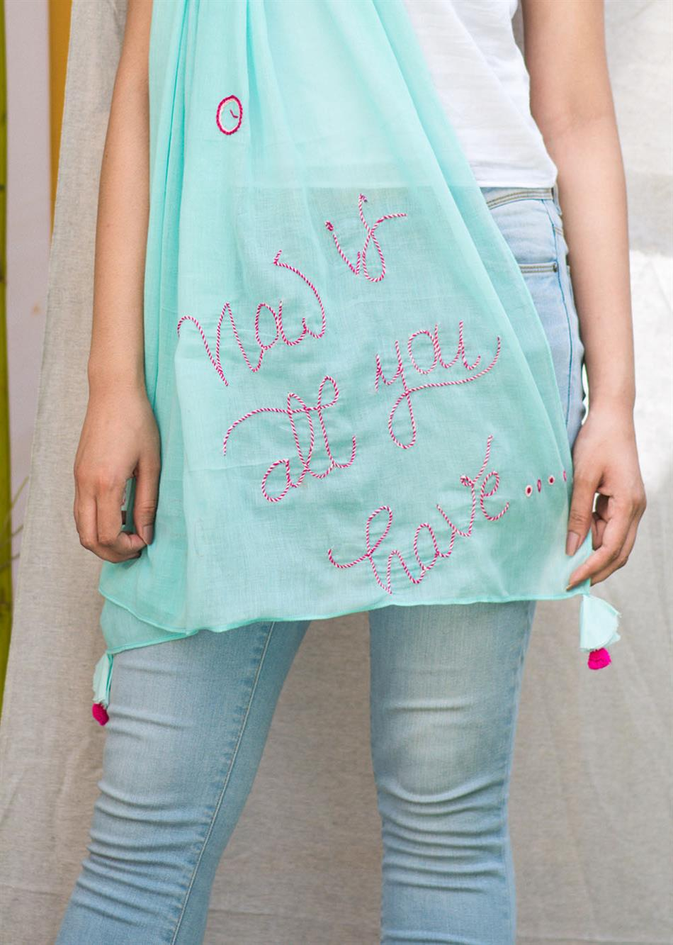 """Now is all you have"" hand embroidered scarf - Sky blue  By Jovi Fashion"