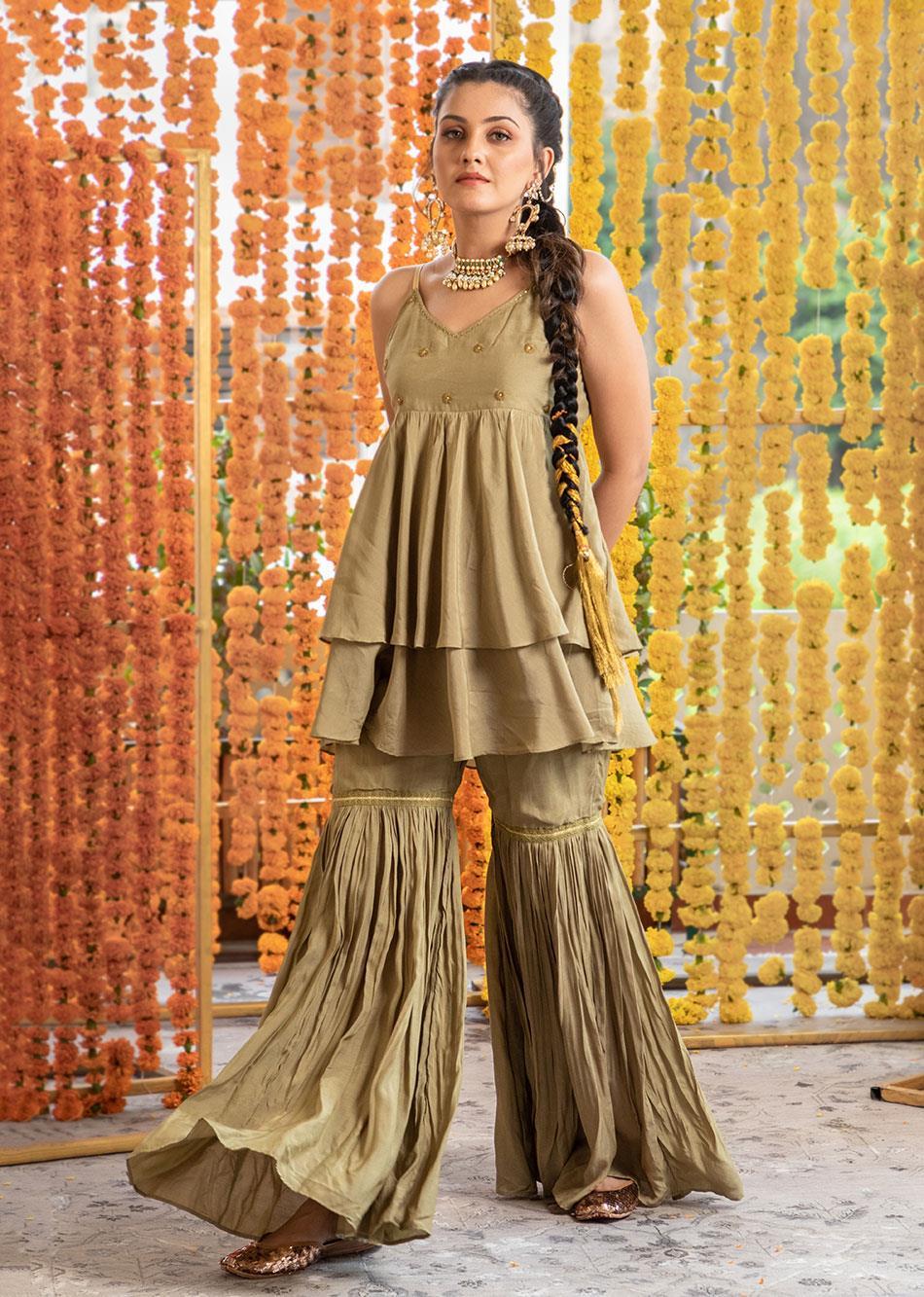 Silk Frill top and Garara pants set (set of 3) By Jovi Fashion