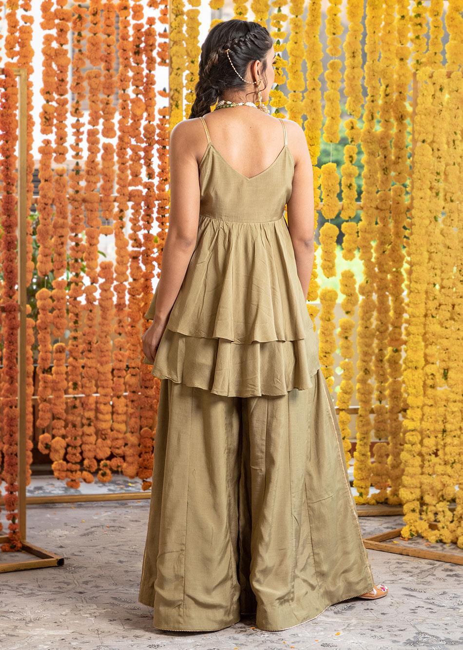 Silk Frill top and flair palazzo set (set of 3) By Jovi Fashion